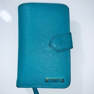 Authentic turquoise bifold FENDI wallet.